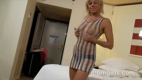 Blonde milf titty fucks and gets a nice creampie