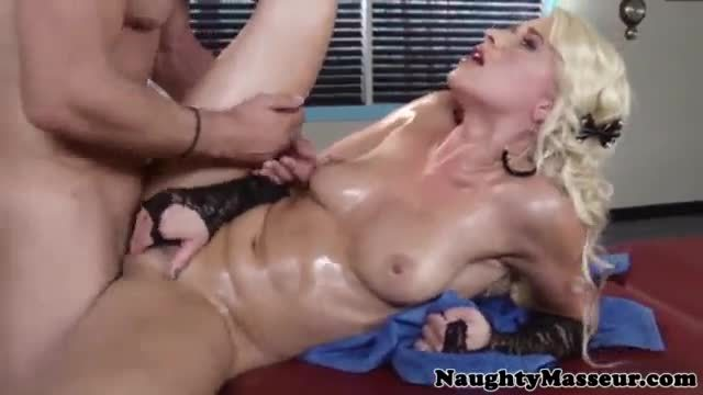 Massaged annika albrite takes big facial