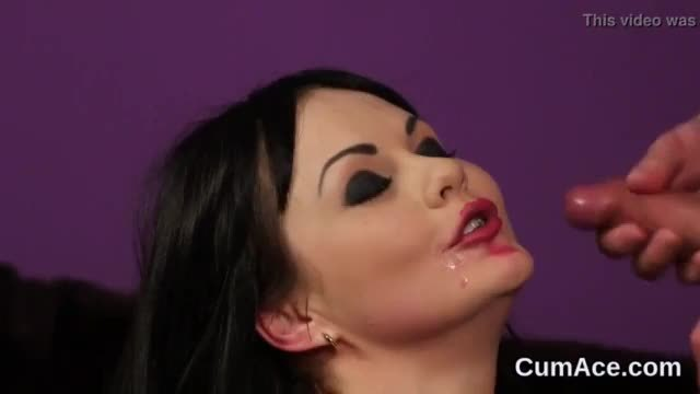 Hot hottie gets jizz shot on her face sucking all the spunk
