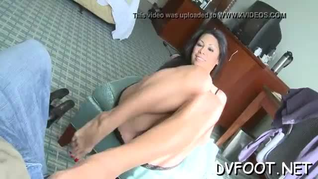 Hot beauty gets her foot licked wildly while toying her cunt